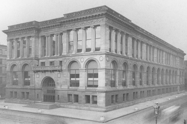 The original Central Library, on Michigan Avenue between Washington and Randolph streets