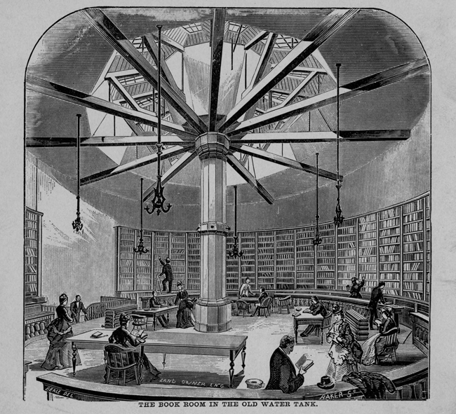Chicago Public Library's book room in a circular water tank that survived the Great Fire.