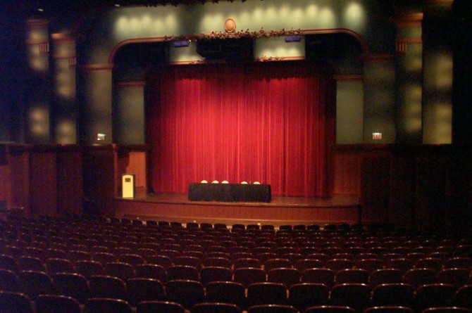 Stage of the Cindy Pritzker Auditorium at the Harold Washington Library Center