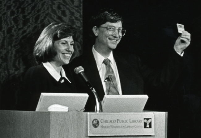 Mary Dempsey and Bill Gates at podium