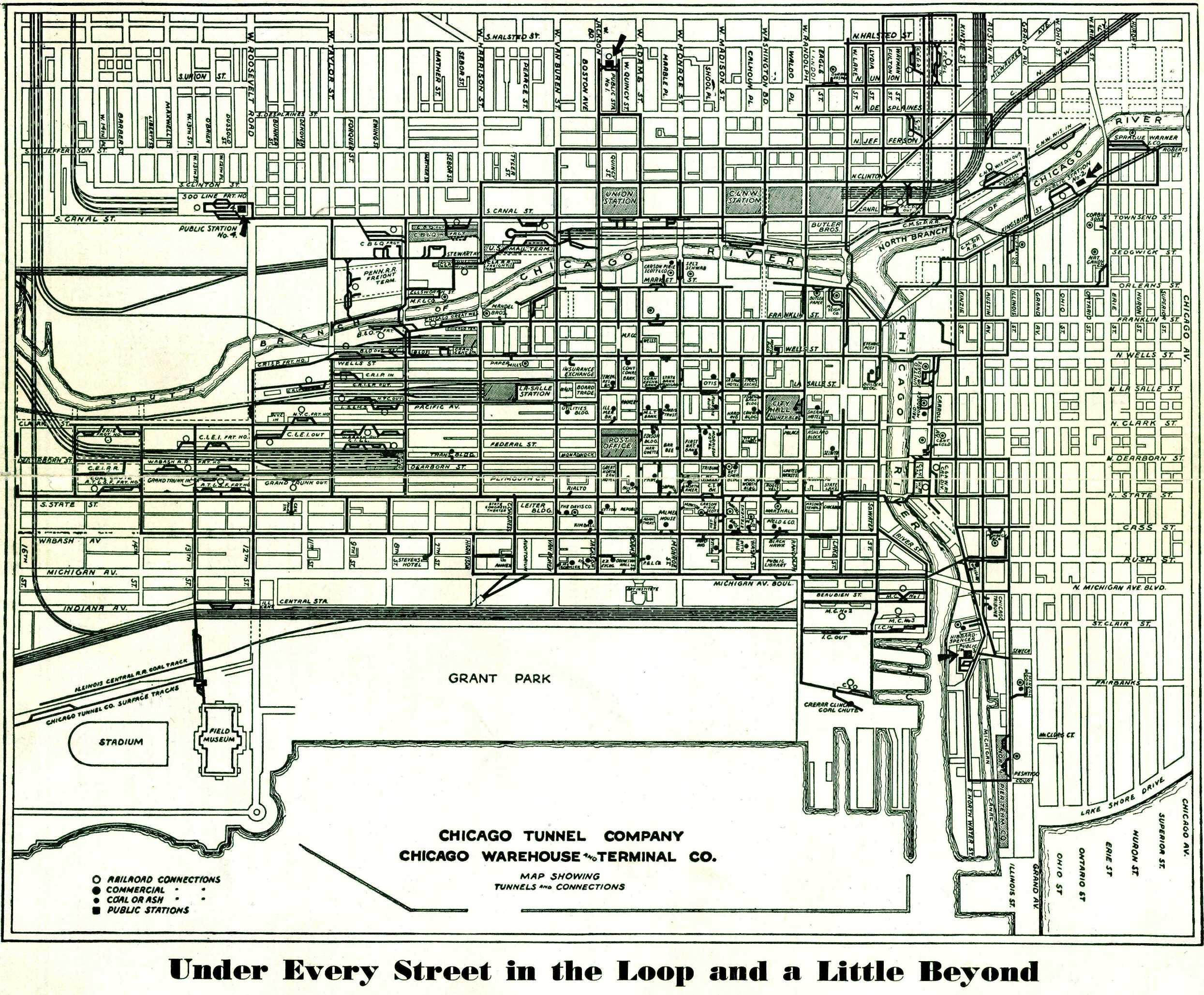 Chicago Tunnels Map Underground Chicago : CTA Subways, Freight Tunnels, Street Car