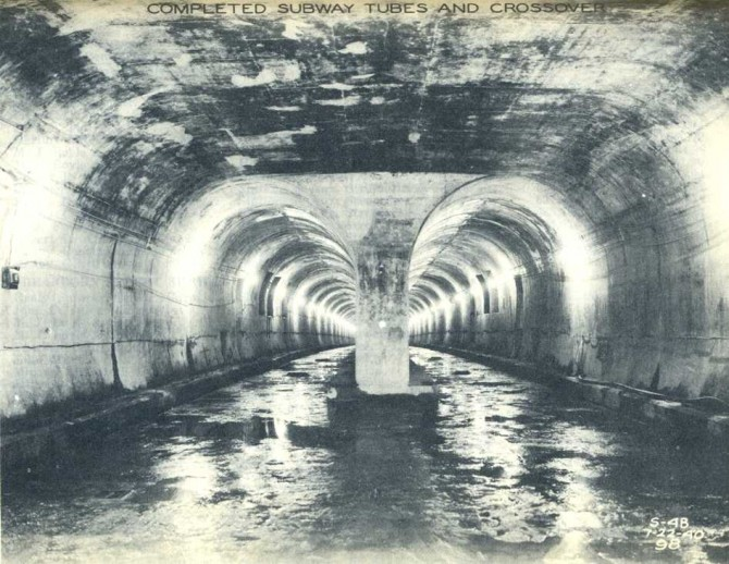 Subway Tunnel, with water sloshing