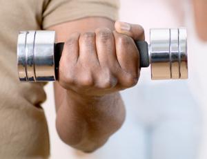 hand gripping weight