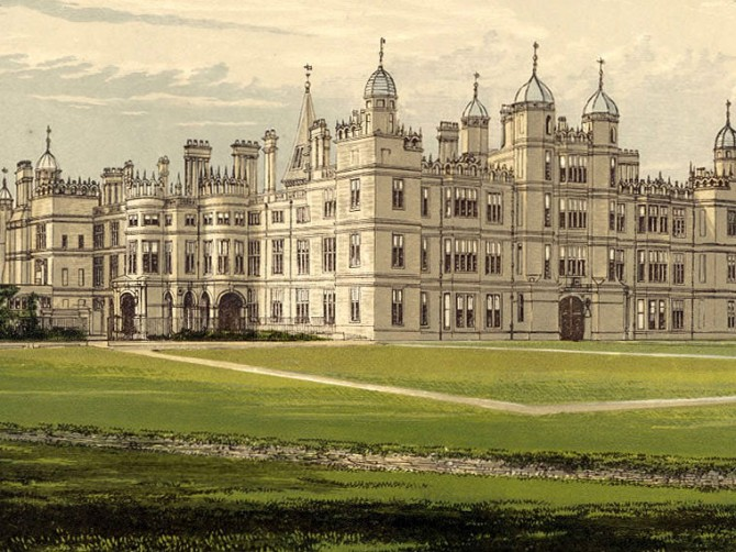 The Burghley country house, perhaps not unlike Buckshaw. Courtesy Morris' County Seats.