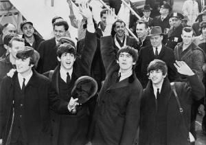 The Beatles arrive at John F. Kennedy Airport in New York City on February 7, 1964