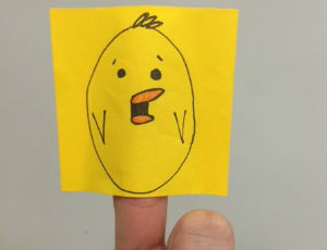 Baby chick puppet made from a post-it