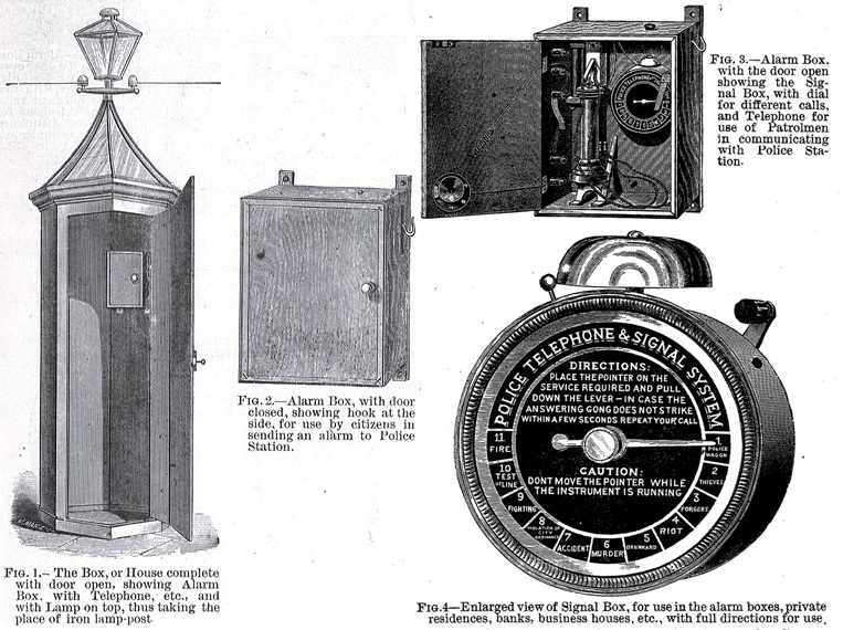 Captions read: Fig.1 The Box, or House complete with door open, showing Alarm Box, with Telephone, et.c and with Lamp on top, thus taking place of iron lamp-post. Fig.2 Alarm Box, with door closed, showing hook at side, for use by citizens in sending an alarm to Police Station. Fig.3 Alarm Box, with door open showing the Signal Box, with dial for different calls and telephone for use of Patrolmen in communicating with Police Station. Fit. 4 Enlarged view of Signal Box, for use in the alarm boxes private residences, banks, business houses, etc., with full directions for use
