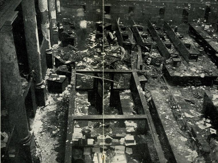 Debris strewn bank