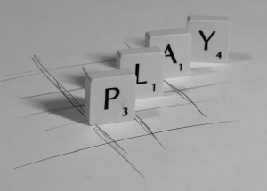 """Tile letter spelling out word """"play"""""""