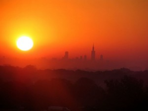 Red and Orange Sunrise over Chicago Skyline