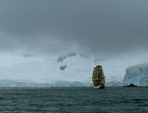 Ship sailing in Antarctic waters