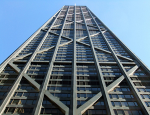 A view of the John Hancock building from the ground
