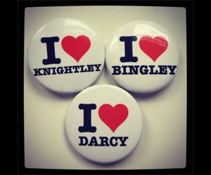 three buttons: I heart Knightley, I heart Bingley and I heart Darcy
