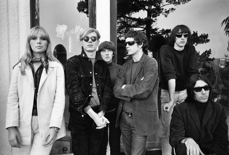 Black and white photo of Nico, Andy Warhol and the Velvet Underground