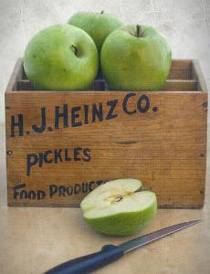 Box of green apples