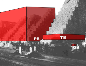 Black and white photo overlaid with graphics depicting the relative size of a gigabyte, terrabyte and petabyte