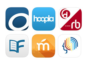 Icons for OverDrive, Hoopla, RBdigital, Flipster, Mango and Brainfuse apps