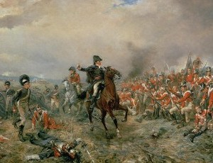 Painting of the duke of Wellington at the battle of waterloo