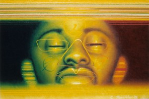 2nd floor gallery. Ed Paschke, Spring. Oil on linen, 1990. Source: Ed Paschke Art Center.