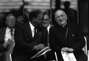 Mayor Harold Washington and Bishop Alfred L. Abramowicz at the first official City of Chicago celebration of Pulaski Day, 1986 March 2. Source: Harold Washington Archives & Collections Photographs. Photographer: Antonio Dickey