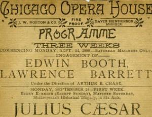 program for Julius Caesar starring Booth and Barrett, Chicago Opera House, September 24, 1888