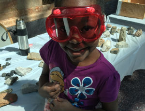 girl with safety goggles