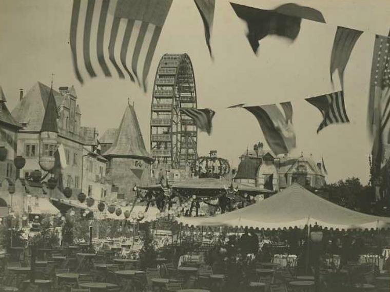 Ferris wheel and old Vienna village