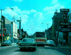 Street view of Polish Chicago, 1981