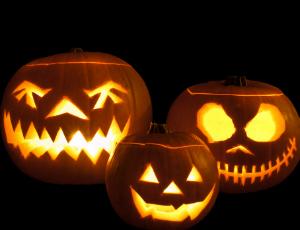 Three scary jack 'o lanterns