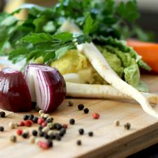 veggies on cutting board