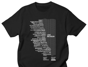 T-shirt with map of Chicago made up of names of all CPL's locations