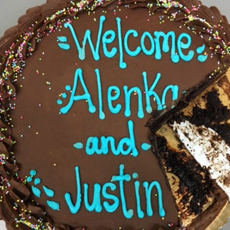 round cake with large piece missing. Frosting lettering reads, Welcome Alenka and Justin