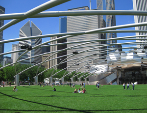 People gather in small groups under the Pritzker Pavillion in Millennium Park; Chicago skyline in the background