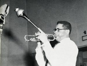 "Dizzy Gillespie portrait chosen for his ""Afro"" album, circa 1950."