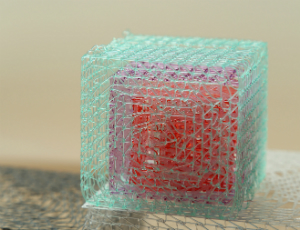 3D-printed cube made of aqua mesh with purple and red elements inside