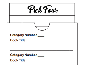 Pick Four board with spaces for category numbers and corresponding book titles