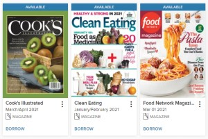 A sample of the cooking magazines available in OverDrive: Cook's Illustrated, Clean Eating, Food Network Magazine.
